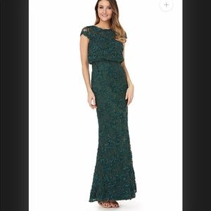 JS Collection Sequined lace blouson gown green 10
